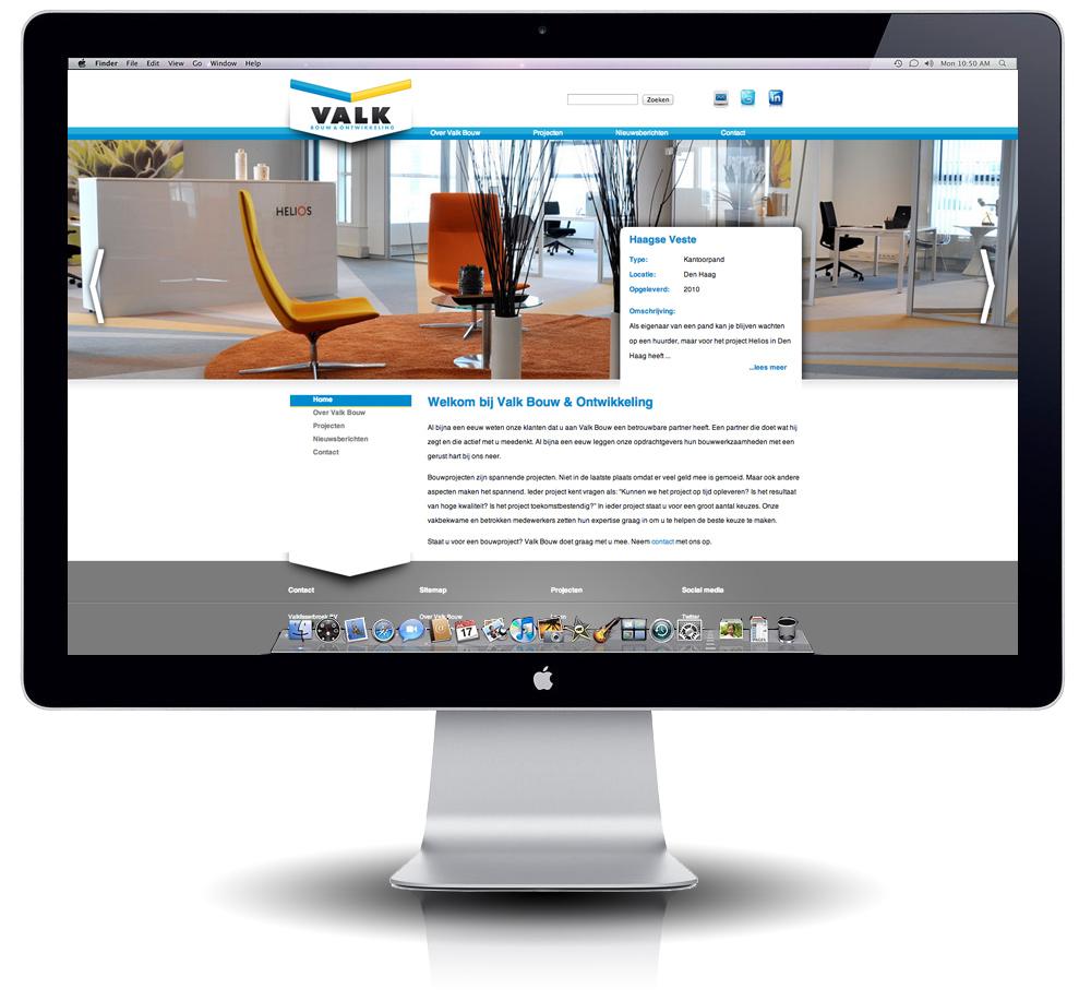 Interface website ontwerp Valk Bouw & Ontwikkeling door StudioGM2