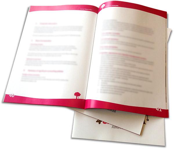Voorbeeld van een binnenwerk pagina van het jaarverslag Alternatives4Children door de Jaarverslagen specialist